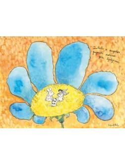 Zuikelis ir angelas, grojantis melsvos gėlės žydėjimui